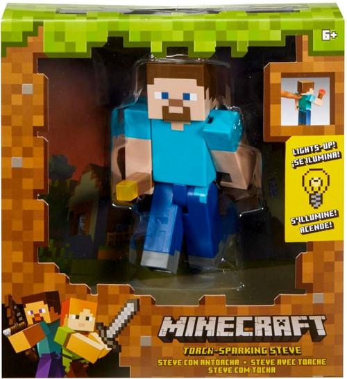 Minecraft Light Up Torch-Sparking Steve Action Figure [Light-Up]