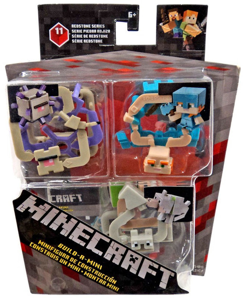 Minecraft Redstone Series 11 Alex in Armor, Wolf & Elder Guardian Mini Figure 3-Pack