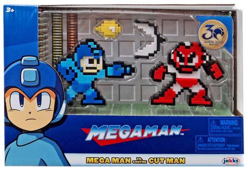 Classic 8-Bit Blue Mega Man vs Cut Man Mini Figure 2-Pack