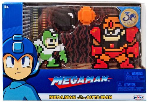 Classic 8-Bit Green / White Mega Man vs Guts Man Mini Figure 2-Pack