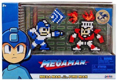 Classic 8-Bit Blue / White Mega Man vs Fire Man Mini Figure 2-Pack