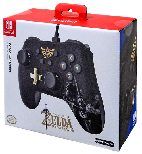 Nintendo Switch Zelda Breath of the Wild Wired Exclusive Video Game Controller [All Black Version]