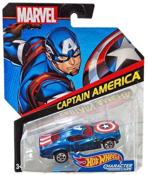 Hot Wheels Marvel Character Cars Captain America Die-Cast Car