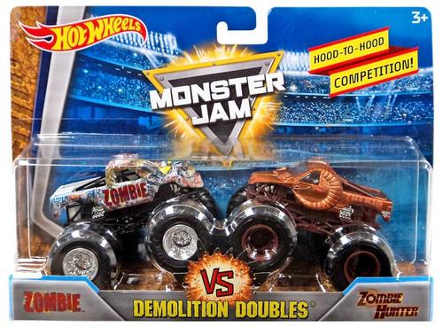 Hot Wheels Monster Jam Demolition Doubles Zombie & Zombie Hunter Diecast Car 2-Pack