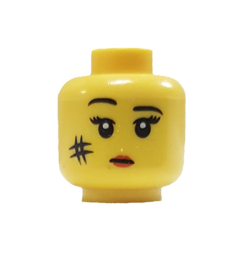 Female With Red Lips and Smudge on Cheek Minifigure Head [Yellow Loose]