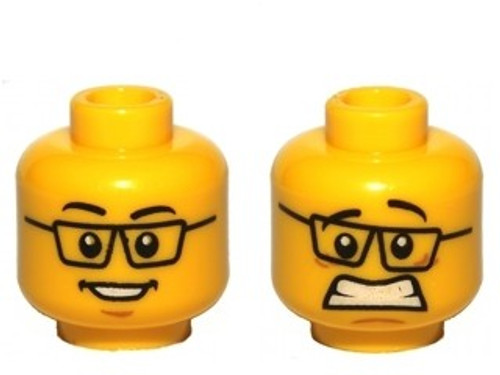 Black Glasses, Smile / Scared Pattern Minifigure Head [Dual-Sided Loose]