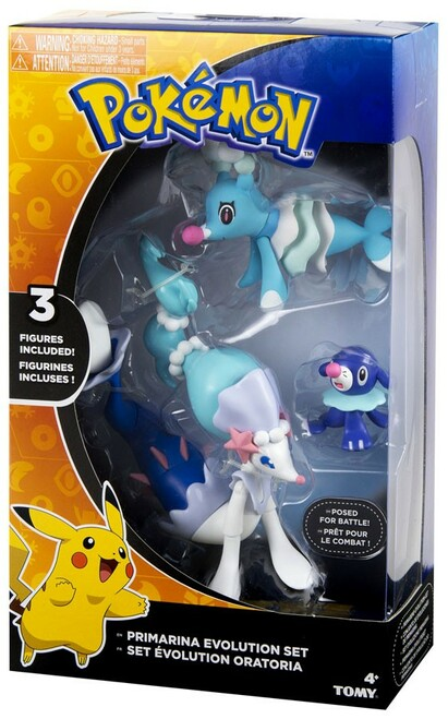 Pokemon Evolution Set Primarina, Popplio & Brionne Figure 3-Pack