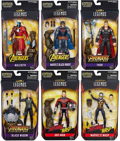 Avengers Infinity War Marvel Legends Cull Obsidian Series Set of 6 Action Figures