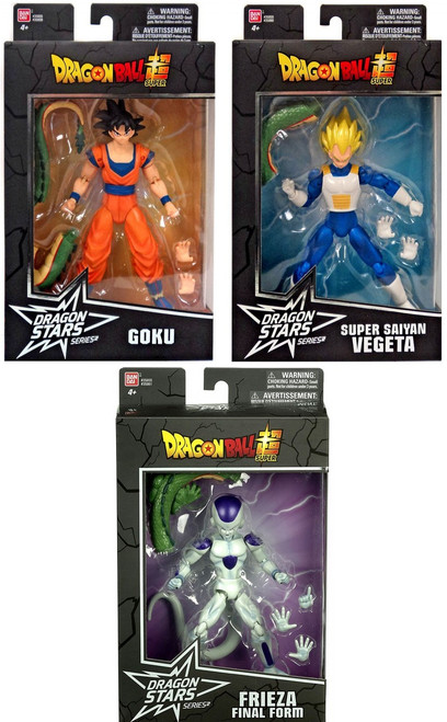 Dragon Ball Super Dragon Stars Series 2 Goku, SS Vegeta & Final Form Frieza Set of 3 Action Figures [Shenron Build-a-Figure]