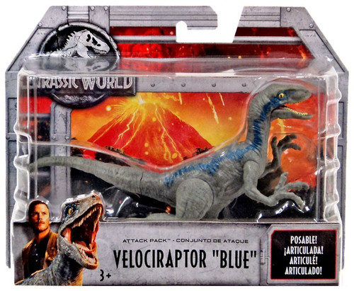 "Jurassic World Fallen Kingdom Attack Pack Velociraptor ""Blue"" Action Figure"