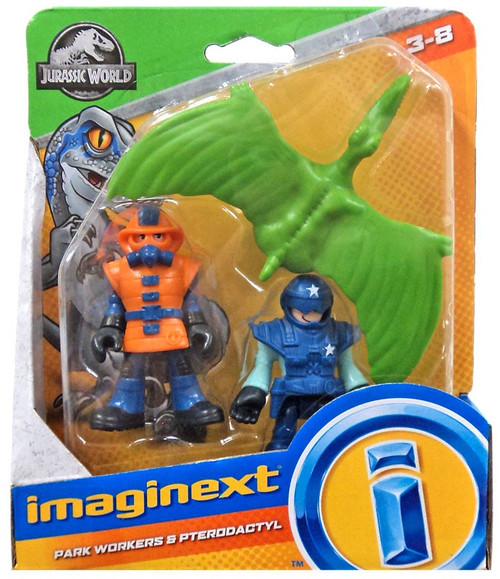 Fisher Price Jurassic World Imaginext Park Workers & Pterodactyl Figure Set