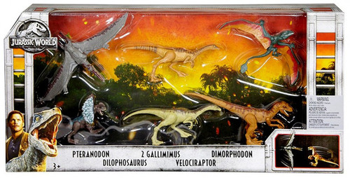 Jurassic World Fallen Kingdom Legacy Collection Pteranodon, Dilophosaurus, 2 Gallimimus, Velociraptor & Dimorphodon Exclusive Action Figure 6-Pack