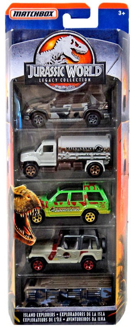 Jurassic World Matchbox Legacy Collection Island Explorers Diecast Vehicle 5-Pack