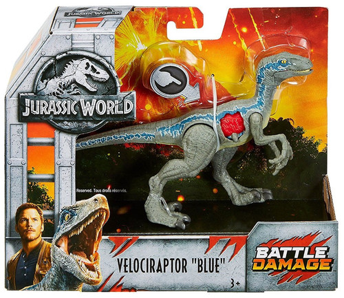 "Jurassic World Fallen Kingdom Battle Damage Velociraptor ""Blue"" Action Figure"