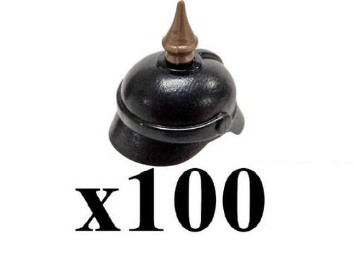 BrickArms Lot of 100 Pickelhaube Helmet with Spike 2.5-Inch [Black]