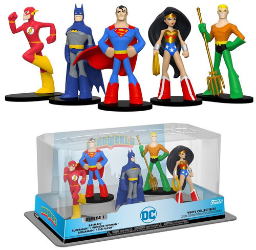 Funko DC Hero World Batman, Superman, Wonder Woman, Aquaman & The Flash Exclusive 4-Inch Vinyl Figure 5-Pack
