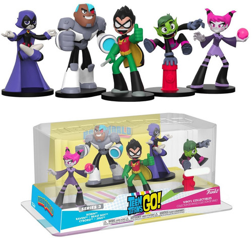 Funko DC Teen Titans Go! Hero World Series 3 Robin, Raven, Beast Boy, Cyborg & Jinx Exclusive 4-Inch Vinyl Figure 2-Pack