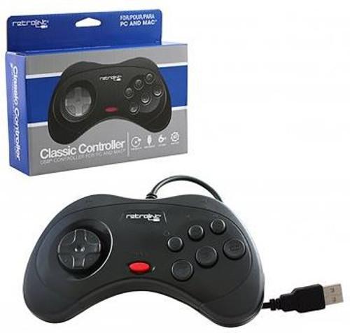 Retro-Bit Retrolink Sega Saturn Style Black Video Game Controller [PC Wired]