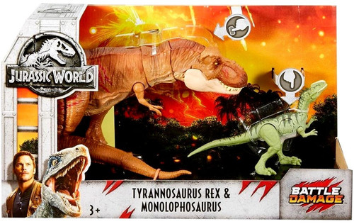 Jurassic World Fallen Kingdom Battle Damage Tyrannosaurus Rex & Monolophosaurus Exclusive Action Figure