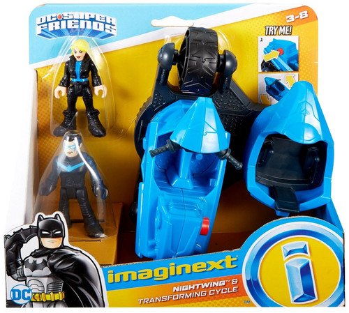 Fisher Price DC Super Friends Imaginext Nightwing & Transforming Cycle 3-Inch Figure Set