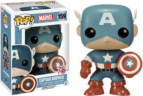 Funko POP! Marvel Captain America Exclusive Vinyl Bobble Head #159 [Sepia Tone, 75th Anniversary, Damaged Package]
