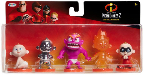 Disney / Pixar Incredibles 2 Super Poseable Jak-Jack Multipack Exclusive 4-Inch Mini Figure 5-Pack