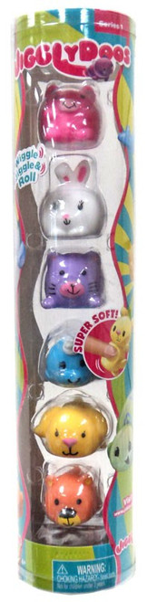 JigglyDoos Pig, Bunny, Cat, Narwhal, Dog & Bear Squeeze Toy 6-Pack