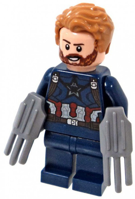 LEGO Marvel Avengers Infinity War Captain America Minifigure [With Beard and 2 Wakandan Shields Loose]