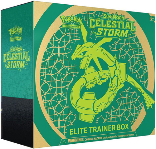 Pokemon Trading Card Game Sun & Moon Celestial Storm Rayquaza Elite Trainer Box [8 Booster Packs, 65 Card Sleeves, 45 Energy Cards & More]