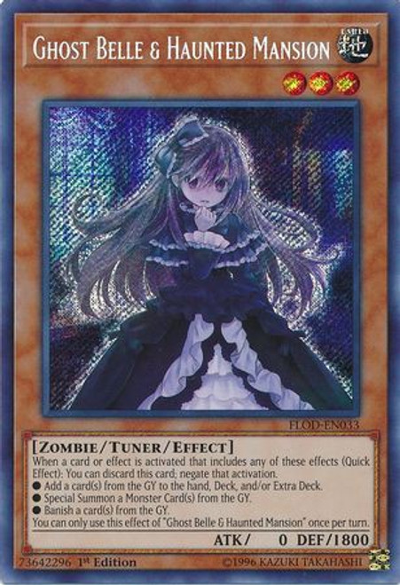 YuGiOh Flames of Destruction Secret Rare Ghost Belle & Haunted Mansion FLOD-EN033