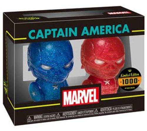 Funko Marvel Hikari XS Japanese Vinyl Captain America Vinyl Figure 2-Pack [Red & Blue Glitter]