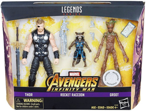 Marvel Avengers Infinity War Thor, Groot & Rocket Raccoon Exclusive Action Figure 3-Pack