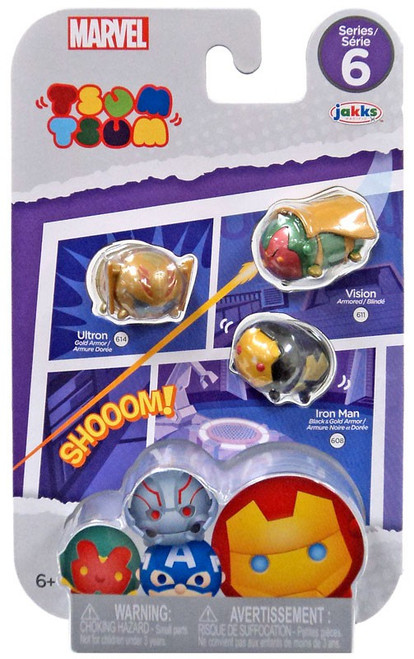 Marvel Tsum Tsum Series 6 Iron Man, Ultron & Vision 1-Inch Minifigure 3-Pack #614, 608 & 611