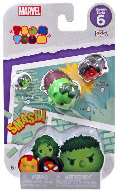 Marvel Tsum Tsum Series 6 She-Hulk, Hulk & Red She-Hulk 1-Inch Minifigure 3-Pack #213, 209 & 602