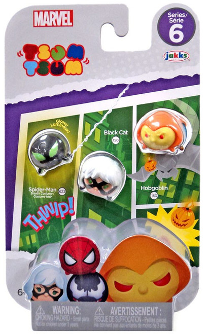 Marvel Tsum Tsum Series 6 Spider-Man, Black Cat & Hobgoblin 1-Inch Minifigure 3-Pack #623, 150 & 153