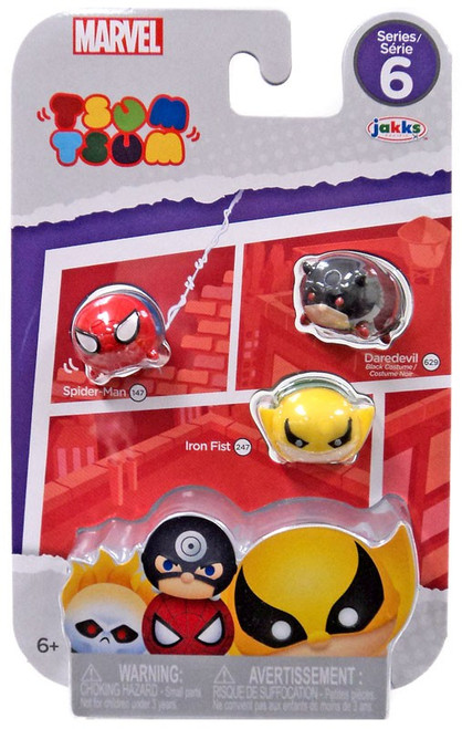 Marvel Tsum Tsum Series 6 Spider-Man, Iron Fist & Daredevil 1-Inch Minifigure 3-Pack #147, 247 & 629