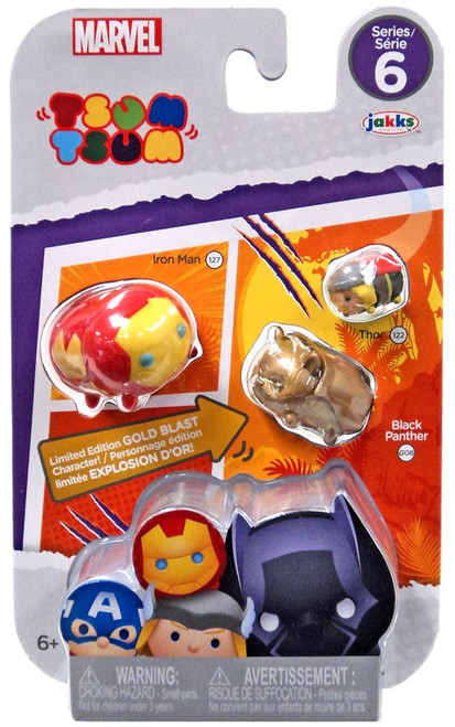 Marvel Tsum Tsum Series 6 Iron Man, Black Panther & Thor 1-Inch Minifigure 3-Pack #127, G08 & 122