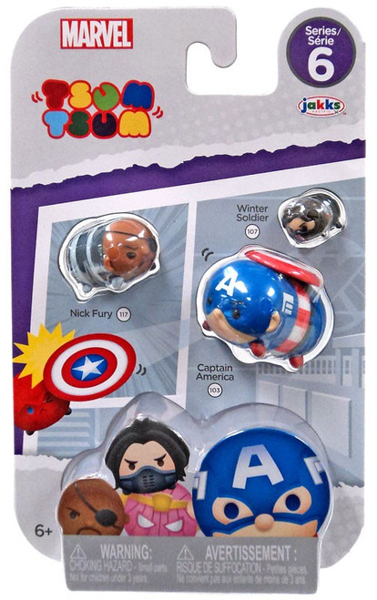 Marvel Tsum Tsum Series 6 Nick Fury, Captain America & Winter Soldier 1-Inch Minifigure 3-Pack #117, 103 & 107