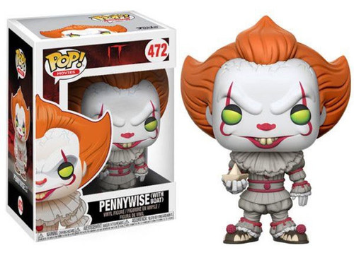 Funko IT Movie (2017) POP! Movies Pennywise (with Boat) Vinyl Figure #472 [Full Colored, Regular Version, Yellow Eyes]