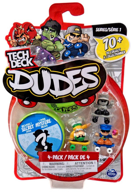Tech Deck Dudes Stone-Cold Sarah, Fresh Felix & Oh-No Mini Figure 4-Pack