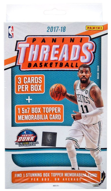 NBA Panini 2017-18 Threads Basketball Trading Card HANGER Box [3 Cards, 1 Memorabilia Card!]