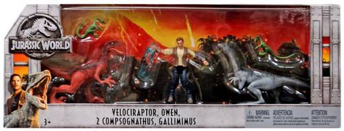 Jurassic World Fallen Kingdom Velociraptor, Owen, 2x Compsognathus & Gallimimus Exclusive Action Figure 5-Pack