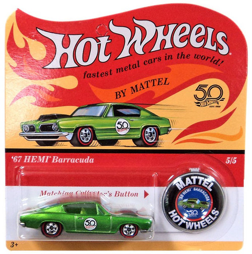 Hot Wheels 50th Anniversary '67 HEMI Barracuda Diecast Car