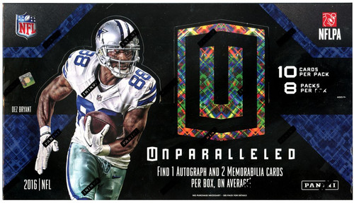 NFL Panini 2016 Unparalleled Football Trading Card HOBBY Box [8 Packs, 1 Autograph & 2 Memorabilia Cards]