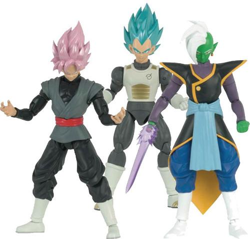 Dragon Ball Super Dragon Stars Series 4 SSGSS Vegeta, SS Rose Goku Black & Zamasu Set of 3 Action Figures [Fusion Zamasu Build-a-Figure]