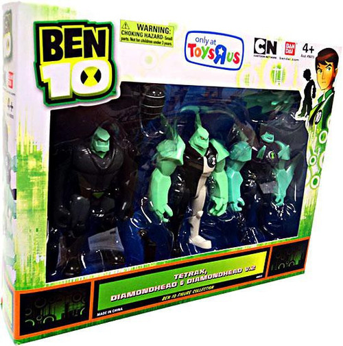 Ben 10 Tetrax, Diamondhead & Diamondhead V.2 Exclusive Action Figure 3-Pack [Damaged Package]