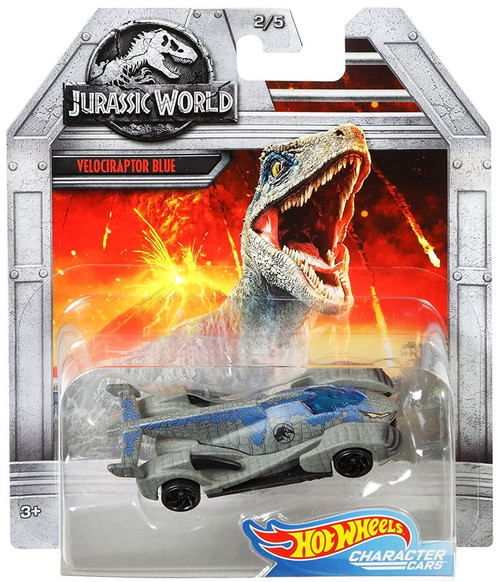 Jurassic World Hot Wheels Character Cars Velociraptor Blue Die Cast Car