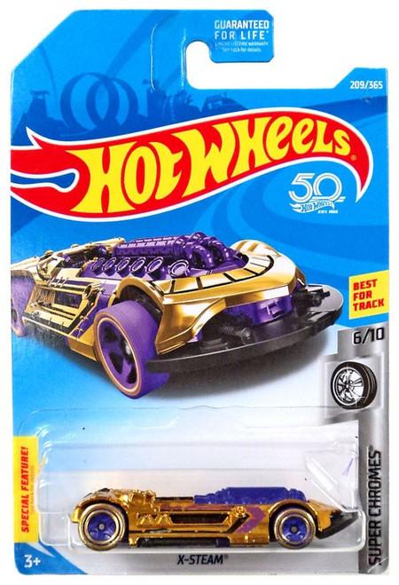 Hot Wheels Super Chromes X-Steam Die-Cast Car #6/10 [Purple & Gold]