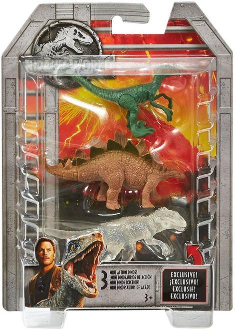 Jurassic World Indominus Rex, Stegosaurus, & Velociraptor 2-Inch Mini Dinosaur Figure 3-Pack
