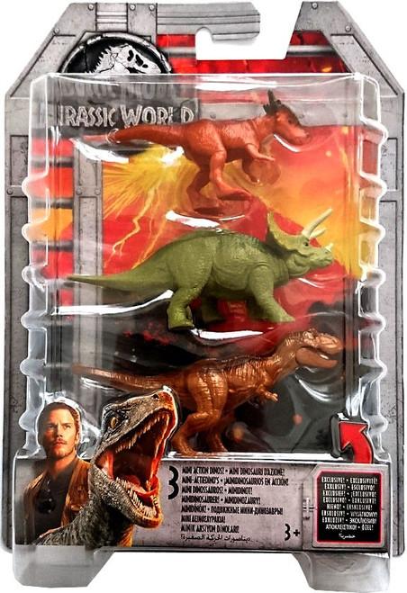 Jurassic World Tyrannosaurus Rex, Triceratops, & Stygimoloch 2-Inch Mini Dinosaur Figure 3-Pack